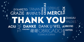 Thank you multilingual, blue royalty free stock image