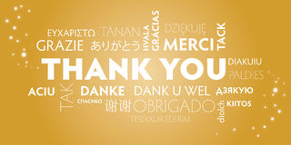 Thank you multilingual, gold Royalty Free Stock Photo
