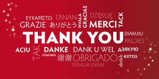 Thank You Multilingual, Red Royalty Free Stock Images