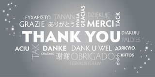 Thank You multilingual, silver vector illustration