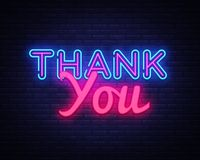 Thank You neon sign vector. Thank You Design template neon sign, light banner, neon signboard, nightly bright. Advertising, light inscription. Vector stock illustration