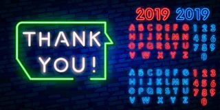 Thank You Neon Text Vector. Thank You neon sign, design template, modern trend design, night neon signboard, night bright. Advertising, light banner, light art royalty free illustration
