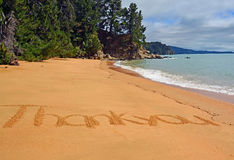Thank you from New Zealand. Thank you card from New Zealand. Words on a beach in the Abel Tasman National Park with lots of copy space Stock Photos