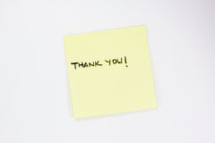 Thank you note. Thank you post it note on a white background Royalty Free Stock Image