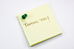 Thank you note. Thank you post it note on a white background Stock Images