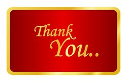 Thank you note. Golden thank you note on red background illustration isolated on white background Stock Photos