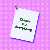 Thank you note. Posted on textured background by thumbtack Stock Photo