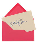 Thank you note. In a pink envelope isolated on white royalty free stock image