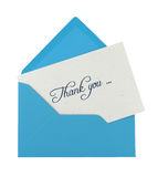 Thank you note. In a blue envelope isolated on white stock photo