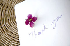 Thank you note on basket Stock Images