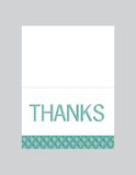 Thank you note card. With blue and green pattern Stock Photography