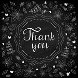 Thank you note on chalk board with botanical background.  Royalty Free Stock Image