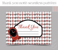 Thank you Note - Clocks from Wonderland. Printable Vector Illustration for Graphic Projects, Parties and the Internet Stock Image