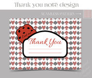 Thank you Note - Cookie from Wonderland. Printable Vector Illustration for Graphic Projects, Parties and the Internet Royalty Free Stock Photos