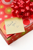 Thank you note and gift Stock Photos