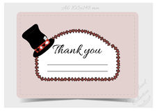 Thank you Note - Hatter Hat from Wonderland. Printable Vector Illustration for Graphic Projects, Parties and the Internet Royalty Free Stock Photo
