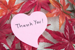 Thank you note in heart shape paper with maple leaf. On grungy white wooden table Royalty Free Stock Photo