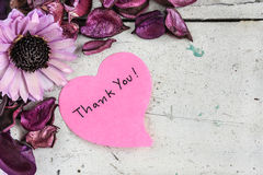 Thank you note in heart shape paper with pink flowers. And purple petal on grungy white wooden table royalty free stock photo