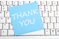 Thank you note on keyboard Royalty Free Stock Images