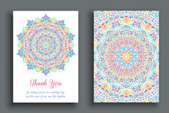 Thank You Note Luxury Ornament. Vector Thank You Note. Flourish mandala greeting template. Colorful pattern, luxury round ornament on white background Royalty Free Stock Photography