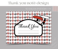 Thank you Note - Mushroom from Wonderland. Printable Vector Illustration for Graphic Projects, Parties and the Internet Stock Photos