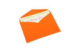 Thank You note in orange envelope on white Stock Photos