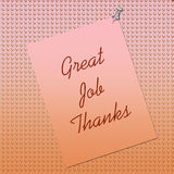 Thank You Note Posted. On textured background by thumbtack Royalty Free Stock Images