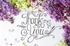 Thank You Note With Purple Lilac Flowers Stock Photos