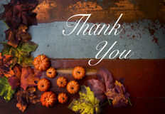 Thank you note on wood. En vintage table with pumpkins and leaves Stock Images