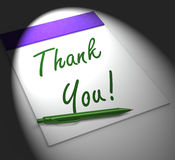 Thank You! Notebook Displays Acknowledgment Or Gratefulness Stock Photo