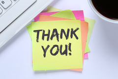 Thank you on notepaper office business desk Stock Photos
