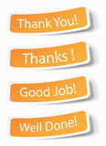 Thank you notes as stickers Royalty Free Stock Photo