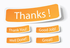 Thank you notes as stickers Royalty Free Stock Photography