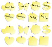 Thank you notes set. Set of yellow sticky notes blank and with thank you note Stock Images