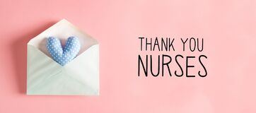 Thank You Nurses message with a heart cushion in an envelope