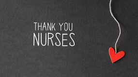 Thank You Nurses message with paper hearts