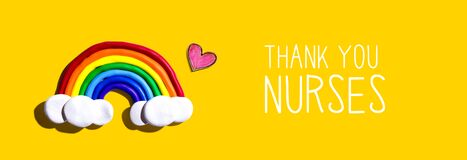 Thank You Nurses message with rainbow and heart