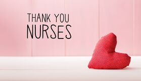 Thank You Nurses message with a red heart cushion
