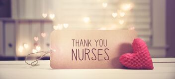 Thank You Nurses message with a red heart