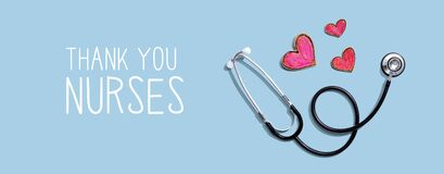 Thank You Nurses message with stethoscope and hearts