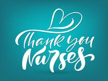 Thank you nurses white lettering vector text and heart on turquoise background. illustration for International Nurses Day. Holiday