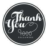 Thank you, one thousand followers round label, vector illustration. Badge, card, lettering, social media, calligraphy, sticker can be used for your design Stock Photos