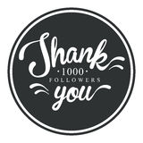 Thank you, one thousand followers round label, vector illustration. Badge, card, lettering, social media, calligraphy, sticker can be used for your design Royalty Free Stock Photo