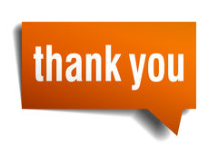 Thank you orange speech bubble Royalty Free Stock Photo