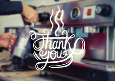 Thank you over barista at work vector Royalty Free Stock Photo