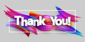 Thank you paper poster with colorful brush strokes. Thank you poster with spectrum brush strokes on white background. Colorful gradient brush design. Vector stock illustration