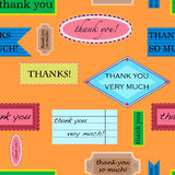 Thank you pattern. Seamless pattern with different kinds of thank you notes Stock Photos