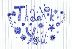 Thank you pen sketch. Artistic work. Ink on paper Royalty Free Stock Photos