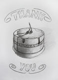 Thank you. Pencil drawing card Royalty Free Stock Photo