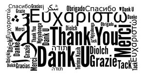 Thank you phrase in different languages Stock Images